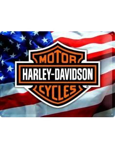 Plaque métal Harley-Davidson drapeau américain