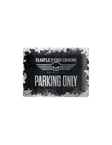 Plaque publicitaire métal Harley-Davidson parking only