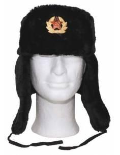 Chapka Russe Noire avec insigne