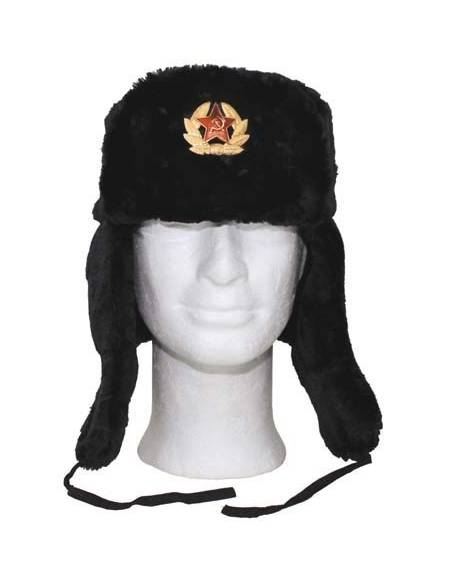 Faux-fur hat, Russian Black with badge